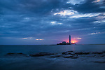 Sunrise over Whitley Bay and St. Mary's Lighthouse in Northumberland, UK.