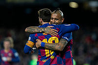 30th January 2020; Camp Nou, Barcelona, Catalonia, Spain; Copa Del Rey Football, Barcelona versus Leganes; Leo Messi and Arturo Vidal celebrating the goal from Messi in the 59th minuet for 3-0
