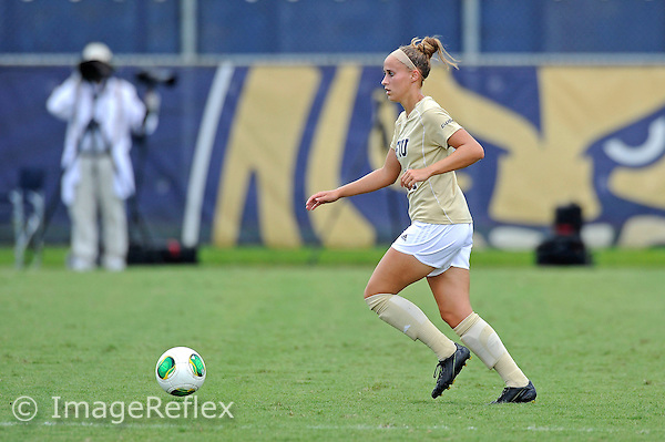 8 September 2013:  FIU forward Caroline Hernandez (11) advances the ball in the first half as the FIU Golden Panthers defeated the Cleveland State University Vikings, 2-0 (called at 73 minutes), at University Park Stadium in Miami, Florida.