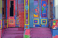 Colorful doors and steps
