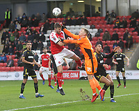Fleetwood Town's Ashley Eastham battles with AFC Wimbledon's Michael Collins<br /> <br /> Photographer Mick Walker/CameraSport<br /> <br /> Emirates FA Cup Third Round - Fleetwood Town v AFC Wimbledon - Saturday 5th January 2019 - Highbury Stadium - Fleetwood<br />  <br /> World Copyright © 2019 CameraSport. All rights reserved. 43 Linden Ave. Countesthorpe. Leicester. England. LE8 5PG - Tel: +44 (0) 116 277 4147 - admin@camerasport.com - www.camerasport.com