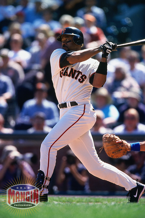 SAN FRANCISCO, CA - Ellis Burks of the San Francisco Giants bats during a game against the Chicago Cubs at Pacific Bell Park in San Francisco, California in September 2, 2000. Photo by Brad Mangin