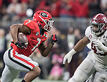 Alabama Crimson Tide defensive lineman Isaiah Buggs (49) tracks Georgia Bulldogs running back D'Andre Swift (7) as he runs the ball in the second half of the NCAA College Football Playoff National Championship at Mercedes-Benz Stadium on January 8, 2018 in Atlanta. Alabama defeated Georgia 26-23 in overtime.  Photo by Mark Wallheiser/UPI