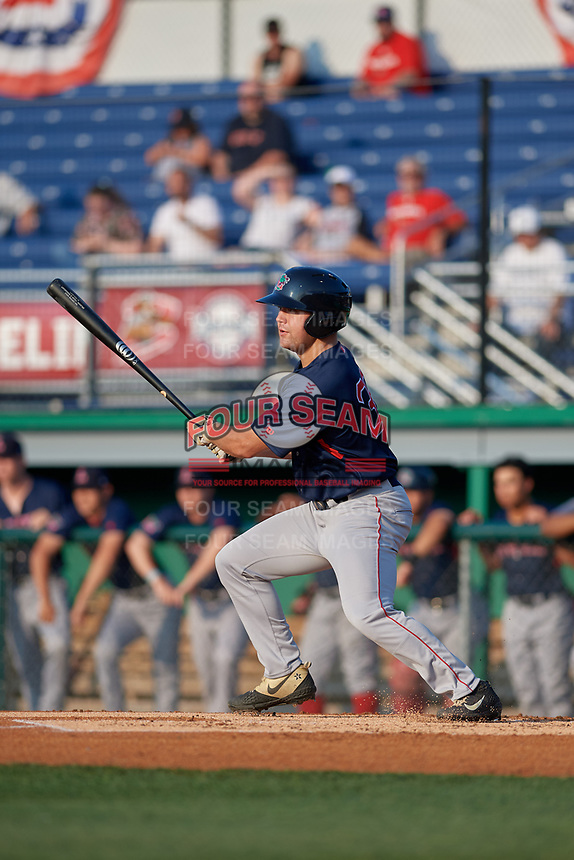 Lowell Spinners Stephen Scott (38) hits a single for his first professional hit during a NY-Penn League game against the Batavia Muckdogs on July 10, 2019 at Dwyer Stadium in Batavia, New York.  Batavia defeated Lowell 8-6.  (Mike Janes/Four Seam Images)