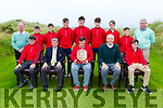 Waterville Juniors claim the inaugural Kerry Junior Plate, pictured here front l-r; Patrick Devane, Noel O'Sullivan(Captain Waterville Golf Club), Padraic Fitzpatrick(Junior Captain), Vernon Devane(Junior Officer), Luke Fitzgerald, back l-r; Pat Everett(Treasurer WGC & Assistant Junior Officer), Jack O'Shea, Craig Murphy, Jim Sugrue, Pádraig Maher, Austin Murphy, Daniel Devane, Daragh Devlin & Mike Murphy(Waterville Golf Links).