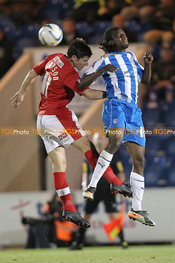Marcus Bean of Colchester United and Josh Simpson of Crawley Town - Colchester United vs Crawley Town - NPower League One Football at the Weston Homes Community Stadium, Colchester, Essex - 18/09/12 - MANDATORY CREDIT: Gavin Ellis/TGSPHOTO - Self billing applies where appropriate - 0845 094 6026 - contact@tgsphoto.co.uk - NO UNPAID USE.