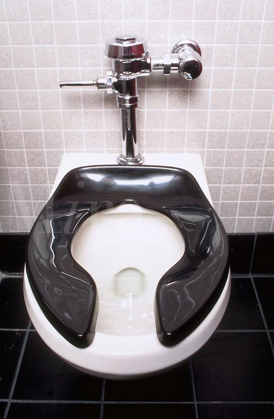 Toilet in public restroom.