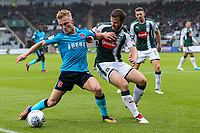 Fleetwood Town's Kyle Dempsey competing with Plymouth Argyle's Jamie Ness <br /> <br /> Photographer Andrew Kearns/CameraSport<br /> <br /> The EFL Sky Bet League One - Plymouth Argyle v Fleetwood Town - Saturday 7th October 2017 - Home Park - Plymouth<br /> <br /> World Copyright &copy; 2017 CameraSport. All rights reserved. 43 Linden Ave. Countesthorpe. Leicester. England. LE8 5PG - Tel: +44 (0) 116 277 4147 - admin@camerasport.com - www.camerasport.com