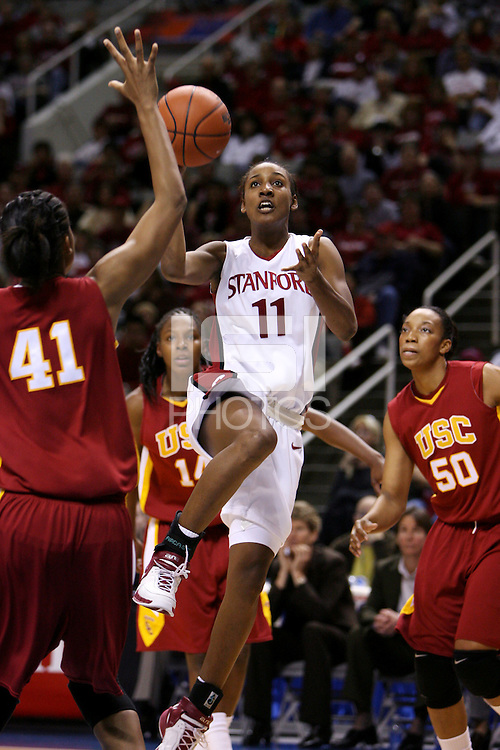 4 March 2007: Candice Wiggins hit a career-high and tournament-record 8 three-pointers on her way to scoring 29 points during Stanford's 67-52 win over USC at the Pac-10 women's basketball tournament at HP Pavilion in San Jose, CA.