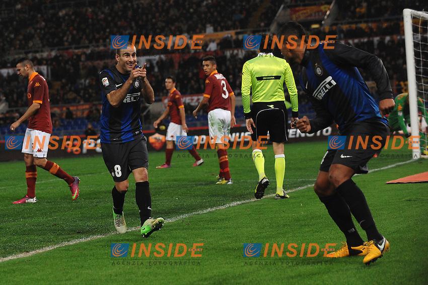 Esultanza Fredy Guarin (R), Rodrigo Palacio, dopo il gol Inter 1-1.Goal celebration.Roma 20/1/2013 Stadio Olimpico.Football Calcio 2012/2013 Serie A.Roma Vs Inter.Foto Andrea Staccioli Insidefoto