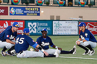 20 September 2012: Pierrick Le Mestre, Luc Piquet, Frederic Hanvi and Maxime Lefevre are seen prior to Spain 8-0 win over France, at the 2012 World Baseball Classic Qualifier round, in Jupiter, Florida, USA.