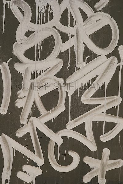 AVAILABLE FROM JEFF FOR LICENSING.<br /> <br /> Graffiti Tag Spray Painted on the Side of a Mail Box, Chinatown, Lower Manhattan, New York City, New York State, USA