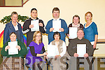 Receiving their FETEC level 3 computer certs in the Old Monastry, Killarney on Wednesday was front row l-r: Kay O'connor, Aoife McCormack KES Adult Literacy Organisation, Breda Healy, Pat O'Connor. Back row: Mary Concannon KES Adult Literacy Organisation,  Timmy Brosnan, Roger McCarthy, Catherine Fleming, Eileen O'Connell Kerry Parents and Friends Association