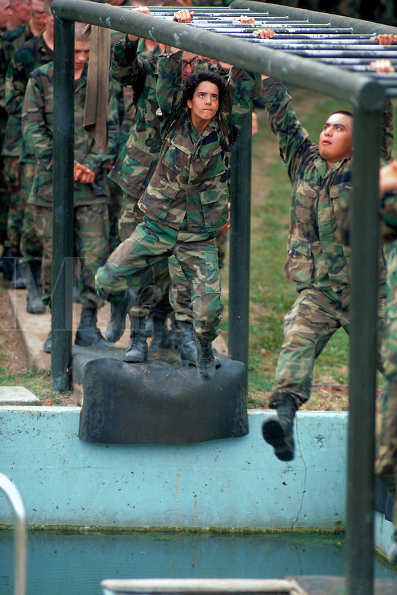 Recruits on a confidence training course at Lackland Air Force Base. San Antonio, Texas.