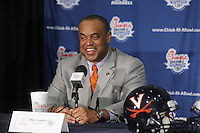 ATLANTA, GA - DECEMBER 30:  Head coach Mike London of the Virginia Cavaliers talks with the media during a press conference for the 2011 Chick Fil-A Bowl at the Georgia Dome on December 30, 2011 in Atlanta, Georgia. (Photo by Andrew Shurtleff/Getty Images) *** Local Caption *** Mike London
