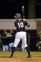 Forrest Brandt (10) of the Davidson Wildcats at bat against the Wake Forest Demon Deacons at Wilson Field on March 19, 2014 in Davidson, North Carolina.  The Wildcats defeated the Demon Deacons 7-6.  (Brian Westerholt/Four Seam Images)