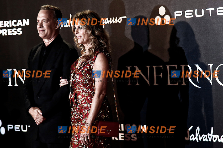 Tom Hanks with his wife Rita Wilkson<br /> Firenze 08-10-2016. 'Inferno' Anteprima Mondiale.<br /> Florence 8th October 2016. 'Inferno' World Premiere.<br /> Foto Samantha Zucchi Insidefoto