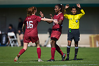 STANFORD, CA - October 21, 2018: Catarina Macario, Beattie Goad at Laird Q. Cagan Stadium. No. 1 Stanford Cardinal defeated No. 15 Colorado Buffaloes 7-0 on Senior Day.