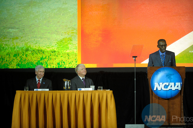 12 JAN 2008:  Staff and delegates participated in the Opening Business Session at the 2008 NCAA Convention held at the Gaylord Palms Opryland Resort and Convention Center in Nashville, TN. Stephen Nowland/NCAA Photos.Pictured: Dr. James Frank - Former NCAA President...