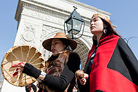 NEW YORK, NEW YORK - MARCH 8: Two women guide the great march around the park that was held during the women's strike in Washington Sq Park for Women's Day on March 8, 2020. in New York. 3,500 women were killed for gender reasons in 25 countries in Latin America and the Caribbean in 2019. UN said. (Photo by Pablo Monsalve / VIEWpress via Getty Images)