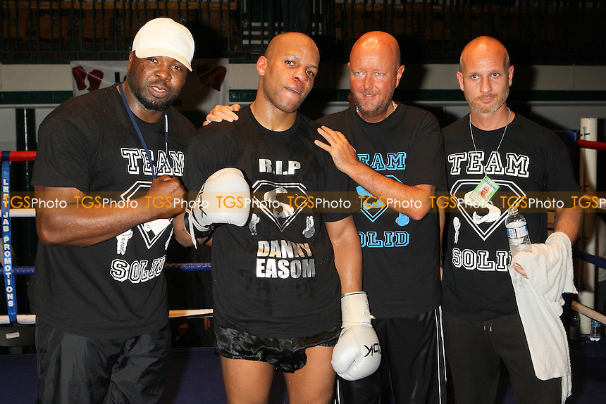 Leon Williams (black shorts) defeats JJ Ojuederie in a Cruiserweight boxing contest for the Southern Area Title at York Hall, Bethnal Green, promoted by Left Jab - 10/10/10 - MANDATORY CREDIT: Gavin Ellis/TGSPHOTO - Self billing applies where appropriate - Tel: 0845 094 6026