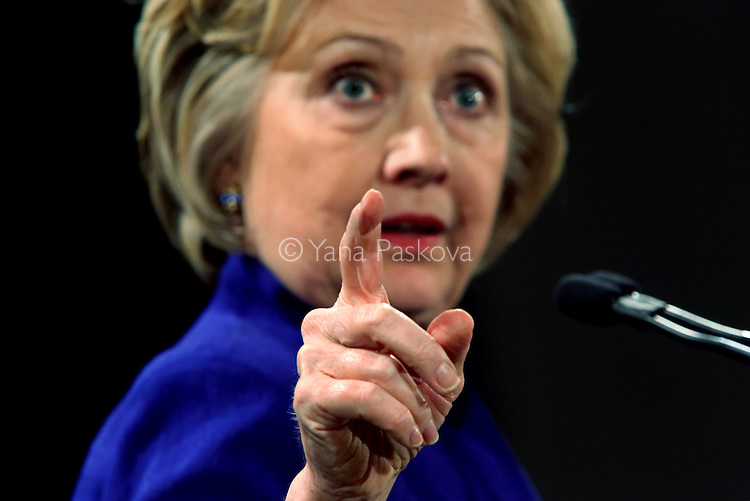 MANHATTAN, NY - APRIL 18: U.S. Presidential candidate Hillary Clinton (D-NY) speaks at a Women for Hillary campaign event at the New York Hilton Midtown hotel in Manhattan, NY, on April 18, 2016. (Photo by Yana Paskova/For The Washington Post)