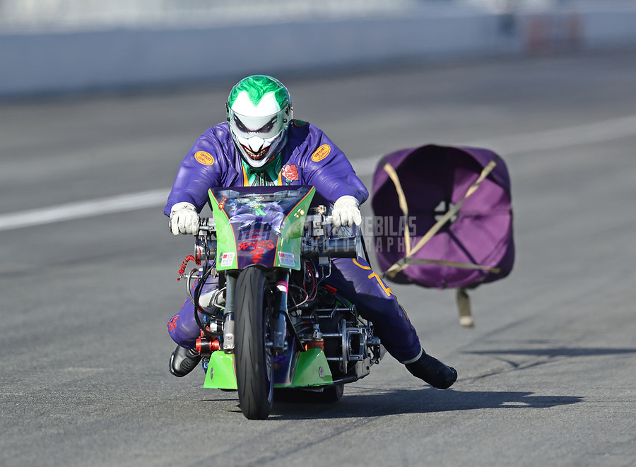 Feb 9, 2019; Pomona, CA, USA; NHRA top fuel Harley Davidson nitro motorcycle rider Andy Beauchemin during the Winternationals at Auto Club Raceway at Pomona. Mandatory Credit: Mark J. Rebilas-USA TODAY Sports