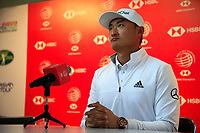 Haotong Li (CHN) speaking to the media at the WGC HSBC Champions 2019, Sheshan Golf Club, Shanghai, China. 29/10/2019.<br /> Picture Fran Caffrey / Golffile.ie<br /> <br /> All photo usage must carry mandatory copyright credit (© Golffile | Fran Caffrey)