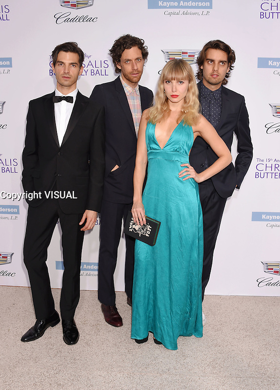 BRENTWOOD, CA - JUNE 11: (L-R) Musicians Alex Greenwald, Jason Boesel, Z Berg and Michael Runion of the band Phases arrive at the 15th Annual Chrysalis Butterfly Ball at a private residence on June 11, 2016 in Brentwood, California.