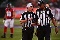 Ohio, Canton - August 1, 2019: Referee Walt Anderson #66 talks with line judge Byron Boston #18 at the Tom Benson stadium in Canton, Ohio August 1, 2019. This game marks start of the 100th season of the NFL. (Photo by Don Baxter/Media Images International)