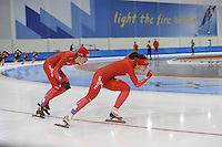SCHAATSEN: SALT LAKE CITY: Utah Olympic Oval, 12-11-2013, Essent ISU World Cup, training, Margot Boer, Mayon Kuipers, ©foto Martin de Jong