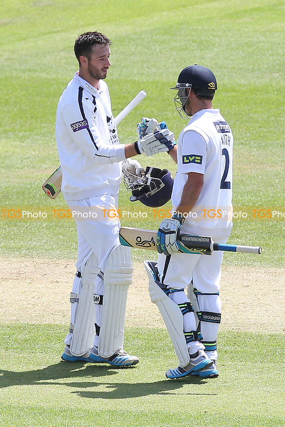 James Vince of Hampshire (L) celebrates his double-century, 200 runs for his team with batting partner Will Smith - Hampshire CCC vs Essex CCC - LV County Championship Division Two Cricket at the Ageas Bowl, West End, Southampton - 17/06/14 - MANDATORY CREDIT: Gavin Ellis/TGSPHOTO - Self billing applies where appropriate - 0845 094 6026 - contact@tgsphoto.co.uk - NO UNPAID USE