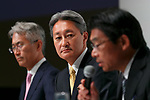 Kazuo Hirai, President and Chief Executive Officer of Sony Corp. (C) attends a news conference at the company's headquarters on May 23, 2017, Tokyo, Japan. Hirai announced Sony's midterm financial targets for the current fiscal year ending March 31, 2018. (Photo by Rodrigo Reyes Marin/AFLO)