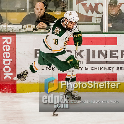 18 December 2016: University of Vermont Catamount Defenseman Matt O'Donnell, a Freshman from Fountain Valley, CA, in third period action against the Union College Dutchmen at Gutterson Fieldhouse in Burlington, Vermont. The Catamounts fell to their former ECAC hockey rivals 2-1, as the Dutchmen sweep the two-game weekend series. Mandatory Credit: Ed Wolfstein Photo *** RAW (NEF) Image File Available ***