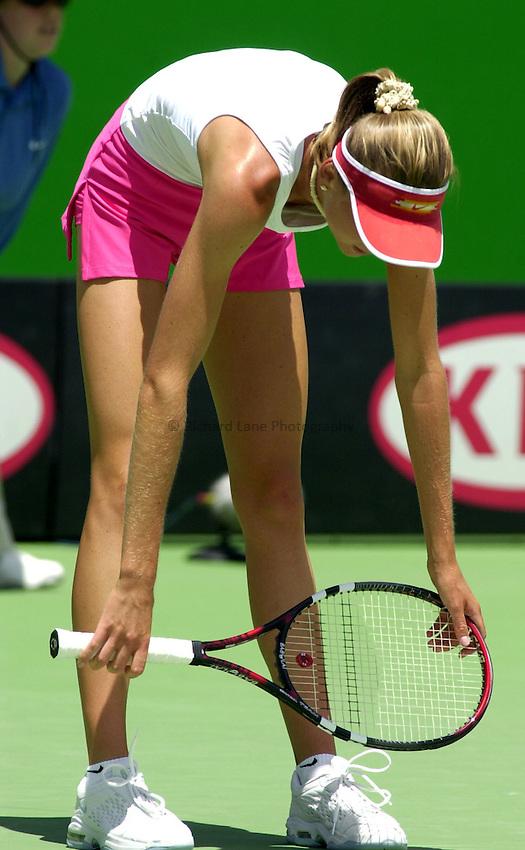 Australian Open Tennis 2003.15/01/2003.Daniela Hantuchova of Slovakia in match against Adriana Serra Zanetti  of Italy.