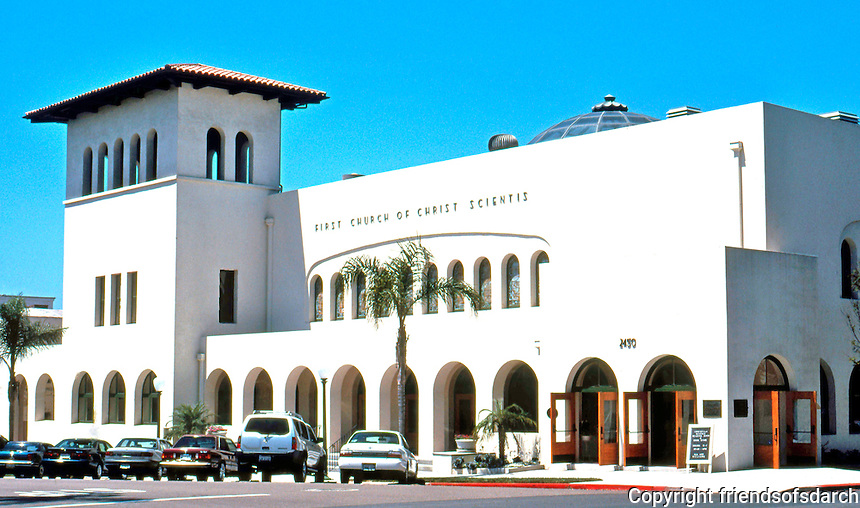 Irving Gill: First Church of Christ Scientist, 1909-1910. Second and Laurel, San Diego. (Restored 1998) Photo 2000.