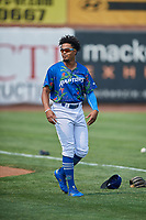 Daniel Robinson (50) of the Ogden Raptors before the game against the Idaho Falls Chukars at Lindquist Field on July 29, 2018 in Ogden, Utah. The Raptors defeated the Chukars 20-19. (Stephen Smith/Four Seam Images)