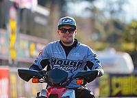Feb 11, 2019; Pomona, CA, USA; NHRA funny car driver Jonnie Lindberg during the Winternationals at Auto Club Raceway at Pomona. Mandatory Credit: Mark J. Rebilas-USA TODAY Sports