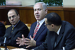 "Israel Prime Minister, Benjamin Netanyahu, is seen during the weekly cabinet meeting, June 28th, 2009. Netanyahu addressed the press urging the Opposition to ""act responsibly"", calling on its members to show their support for the political principles he detailed during his visit to Europe last week, principles he said were given ""due attention"". Photo By : Emil Salman / JINI.."