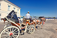 A horse drawn carriage in the city of Spetses island, Greece