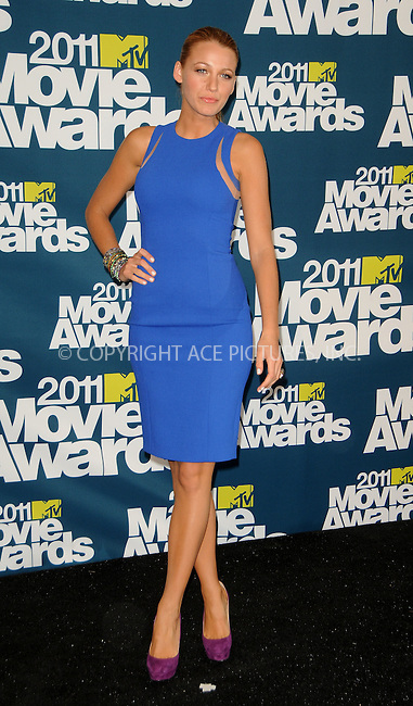 WWW.ACEPIXS.COM . . . . .  ....June 5 2011, Los Angeles....Actress Blake Lively in the press room at the 2011 MTV Movie Awards at Universal Studios' Gibson Amphitheatre on June 5, 2011 in Universal City, California. ....Please byline: PETER WEST - ACE PICTURES.... *** ***..Ace Pictures, Inc:  ..Philip Vaughan (212) 243-8787 or (646) 679 0430..e-mail: info@acepixs.com..web: http://www.acepixs.com