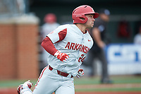 Dominic Fletcher (24) of the Arkansas Razorbacks hustles down the first base line against the Charlotte 49ers at Hayes Stadium on March 21, 2018 in Charlotte, North Carolina.  The 49ers defeated the Razorbacks 6-3.  (Brian Westerholt/Four Seam Images)