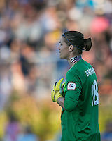 In a National Women's Soccer League Elite (NWSL) match, the Boston Breakers defeated the FC Kansas City, 1-0, at Dilboy Stadium on August 10, 2013.  FC Kansas City goalkeeper Bianca Henninger (1).