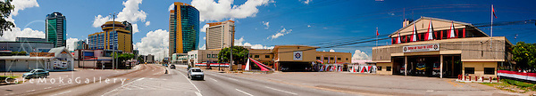 Port of Spain, Wrightson Road -  highway to the city and fire station - panoramic