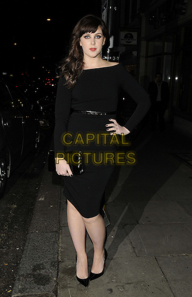 Alexandra Roach.The London Collections: Men GQ Dinner, Sketch bar & restaurant, Conduit St., London, England..January 9th, 2013.full length black dress belt clutch bag hand on hip.CAP/CAN.©Can Nguyen/Capital Pictures.