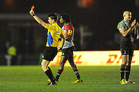 Referee Craig Maxwell-Keys turns an initial yellow into a red card for Rhys Gill of Saracens for a spear (tip) tackle during the Premiership Rugby match between Harlequins and Saracens - 09/01/2016 - Twickenham Stoop, London<br /> Mandatory Credit: Rob Munro/Stewart Communications