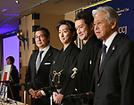 """April 26, 2018,Tokyo, Japan - Popular Japanese kabuki actors attend a news conference at Tokyo Foreign Correspondents Club of Japan on Thursday, April 26, 2018, announcing their participationn in the """"Japonismes 2018. The duo will perform in kabuki at the cultural expo starting in Paris and surrounding areas in July to celebrate the 160th anniversary of?Japan-France?diplomatic relations. They are, from left: Jay Sakomoto,?president & CEO of Shochiku Co., actors Nakamura Shichinosuke, Nakamura Shido and Hiroyasu Ando,?president of the Japan Foundation.  (Photo by Natsuki Sakai/AFLO) AYF -mis-"""