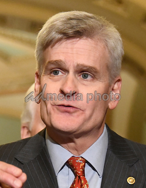 United States Senator Bill Cassidy (Republican of Louisiana) speaks to reporters outside the US Senate Chamber following the Republican weekly luncheon caucus in the US Capitol in Washington, DC on Tuesday, September 19, 2017.  The GOP leadership is advocating for the passage of the Graham-Cassidy Act that would replace parts of the Affordable Care Act (also known as ObamaCare) with block grants for the individual states. Photo Credit: Ron Sachs/CNP/AdMedia