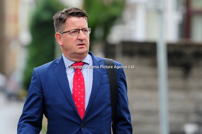 Pictured: Mark Adams, arrives at Swansea crown court.  Monday 17 September 2018<br /> Re: Mark Adams will face trial  at Swansea Crown Court, over an alleged sex attack at a Welsh seaside resort.<br /> Mark Adams, 56, denied the indecent assault.
