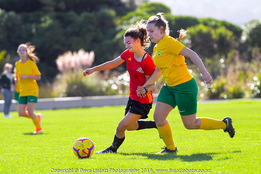 Action from the Capital Women's Division Two match between Stop Out and Victoria University at Hutt Park in Lower Hutt, New Zealand on Sunday, 28 April 2019. Photo: Dave Lintott / lintottphoto.co.nz